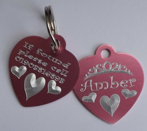 PERSONALISED HEART KEY RING GIRLY HEART WITH TIARA HEARTS & NAME & BACK ENGRAVED